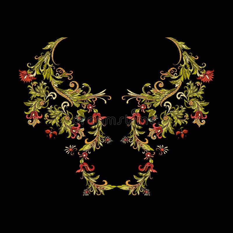 Вышивка Вышитые элементы дизайна с цветками и листьями иллюстрация вектора