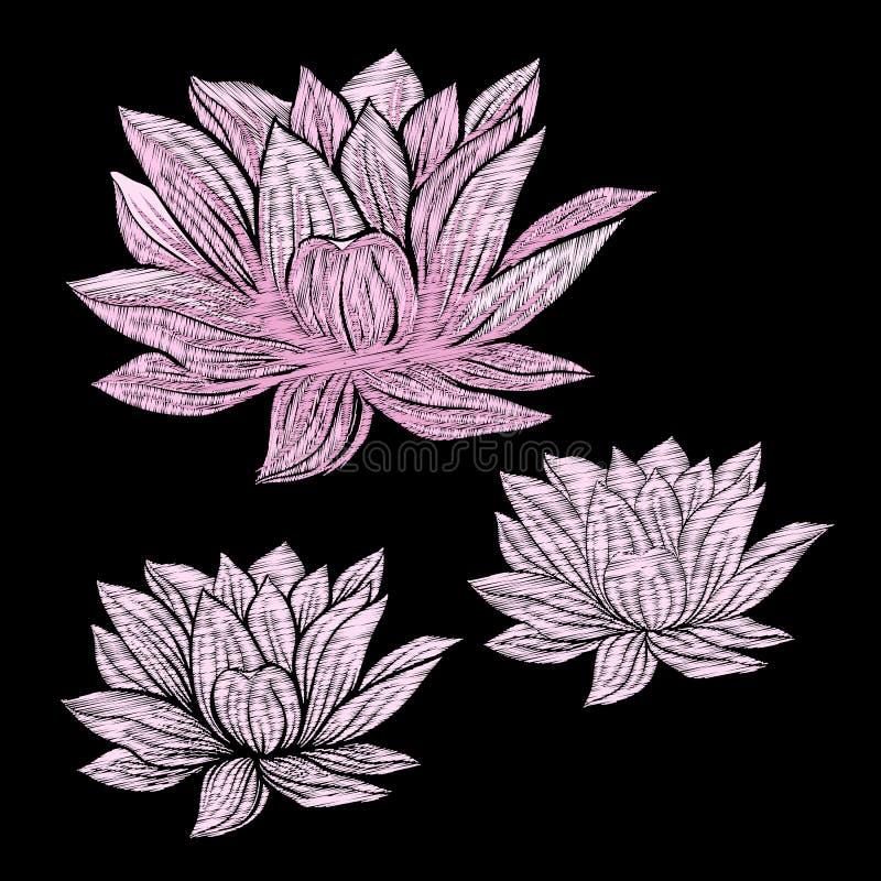 Вышивка Вышитые элементы дизайна с цветками лотоса и l иллюстрация вектора