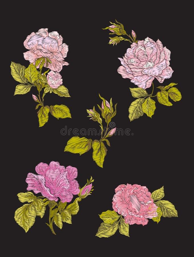 Вышивка Вышитые элементы дизайна с цветками роз и l бесплатная иллюстрация