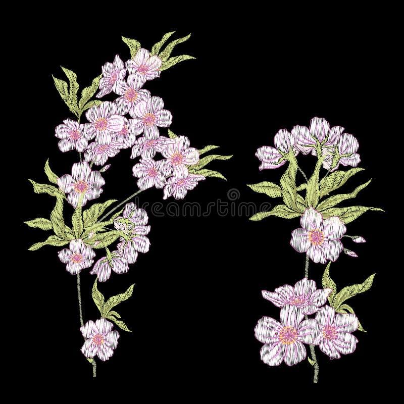 Вышивка Вышитые элементы дизайна с цветками Сакуры и иллюстрация вектора