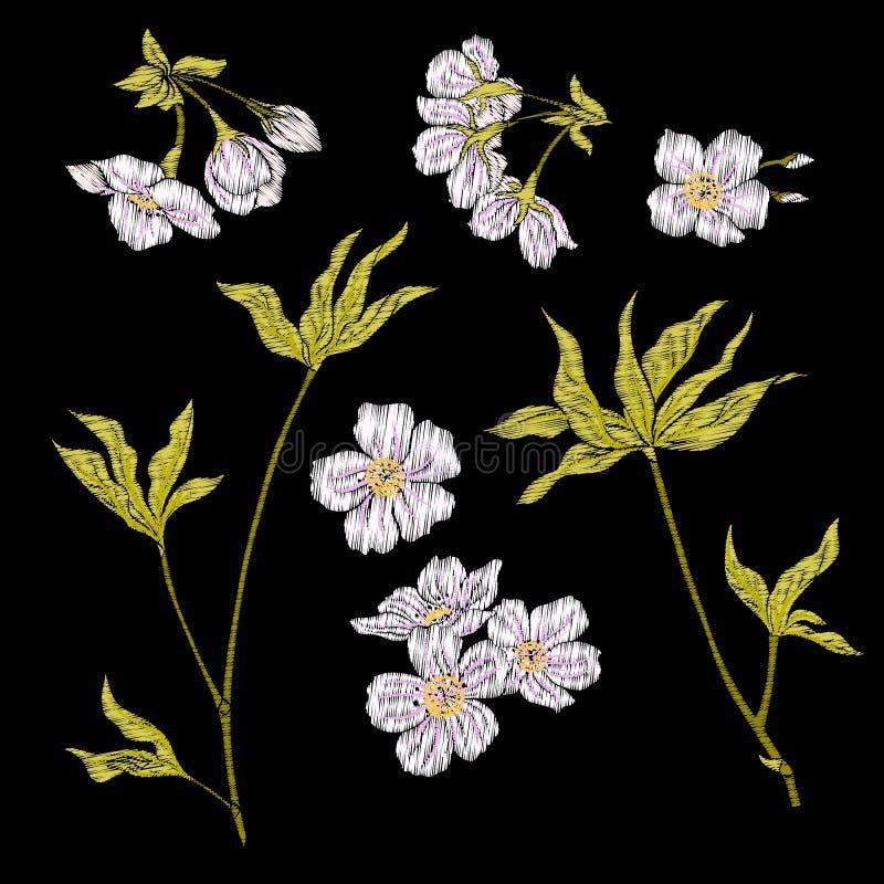 Вышивка Вышитые элементы дизайна с цветками Сакуры и бесплатная иллюстрация