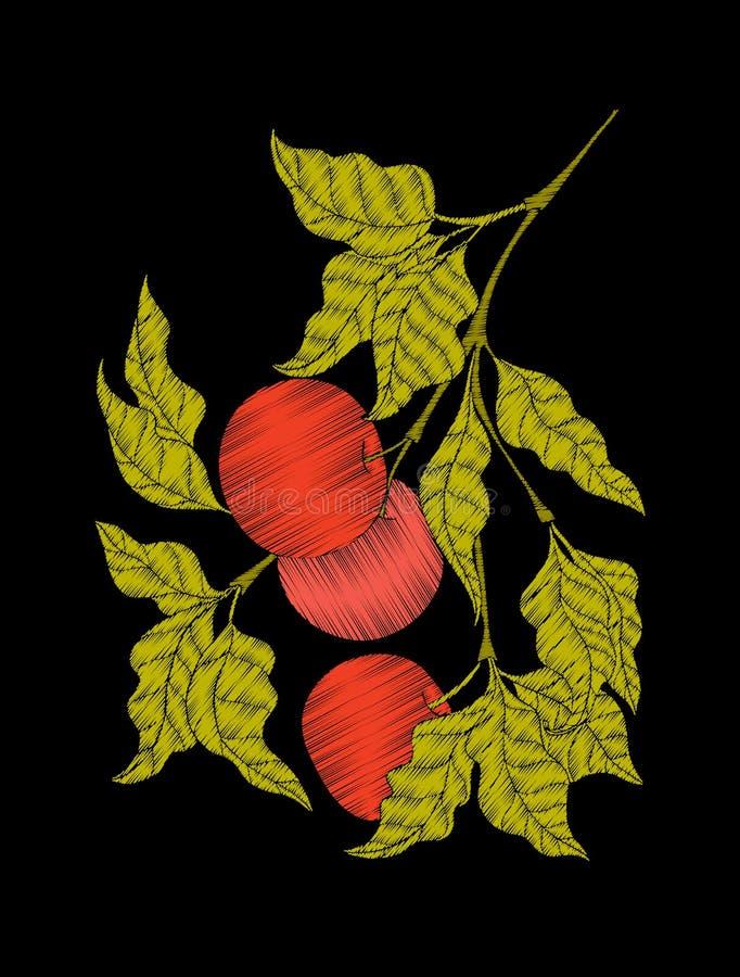 Вышивка Вышитые элементы дизайна с яблоком и листьями иллюстрация вектора