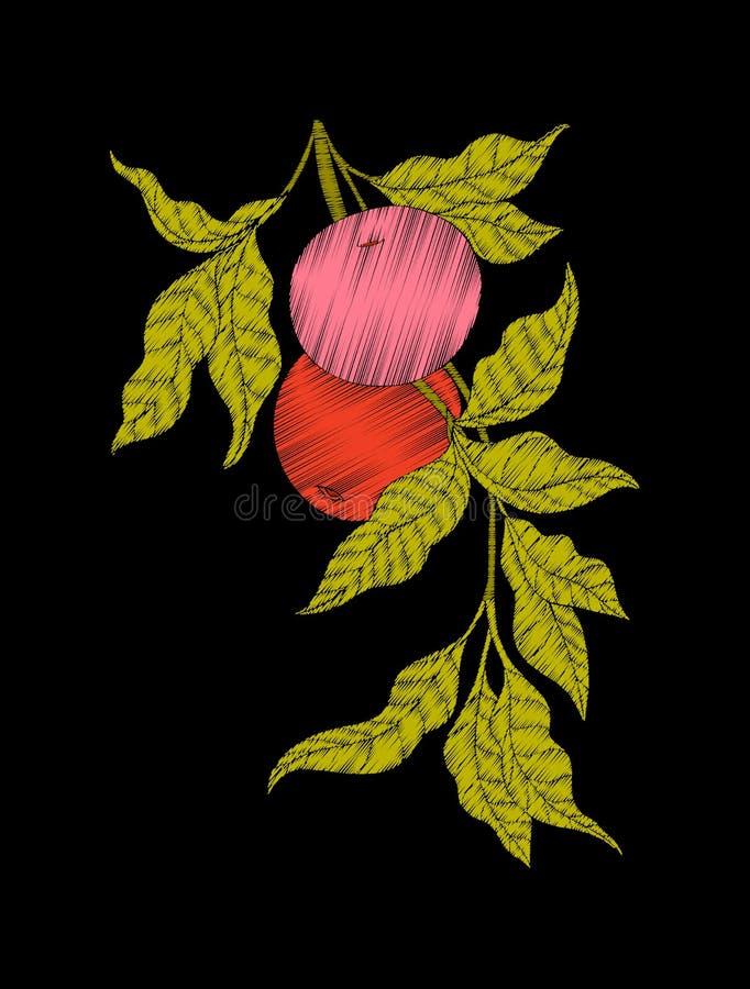 Вышивка Вышитые элементы дизайна с яблоком и листьями бесплатная иллюстрация