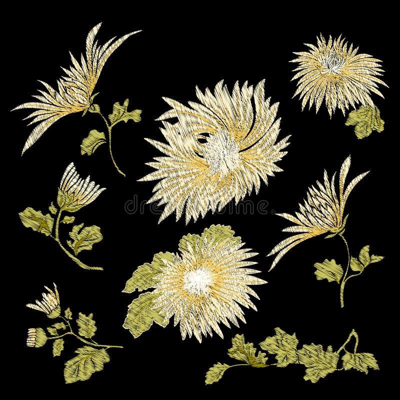 Вышивка Вышитые элементы дизайна с flowe хризантемы иллюстрация штока