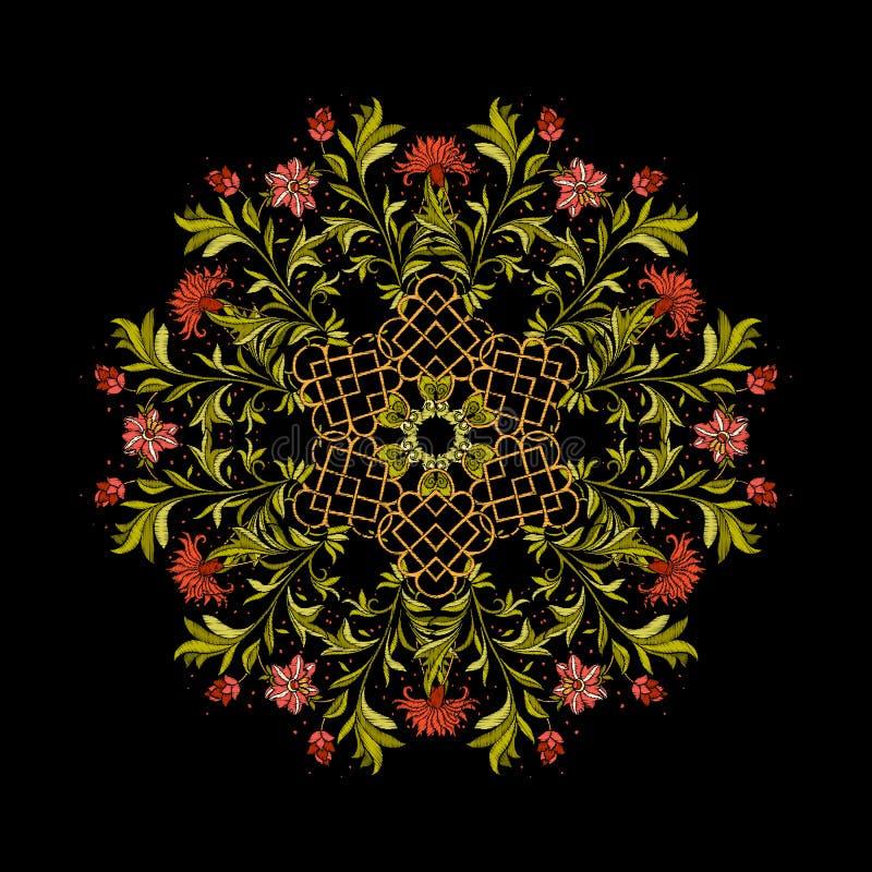 Вышивка Вышитые элементы мандалы дизайна с цветками и иллюстрация вектора