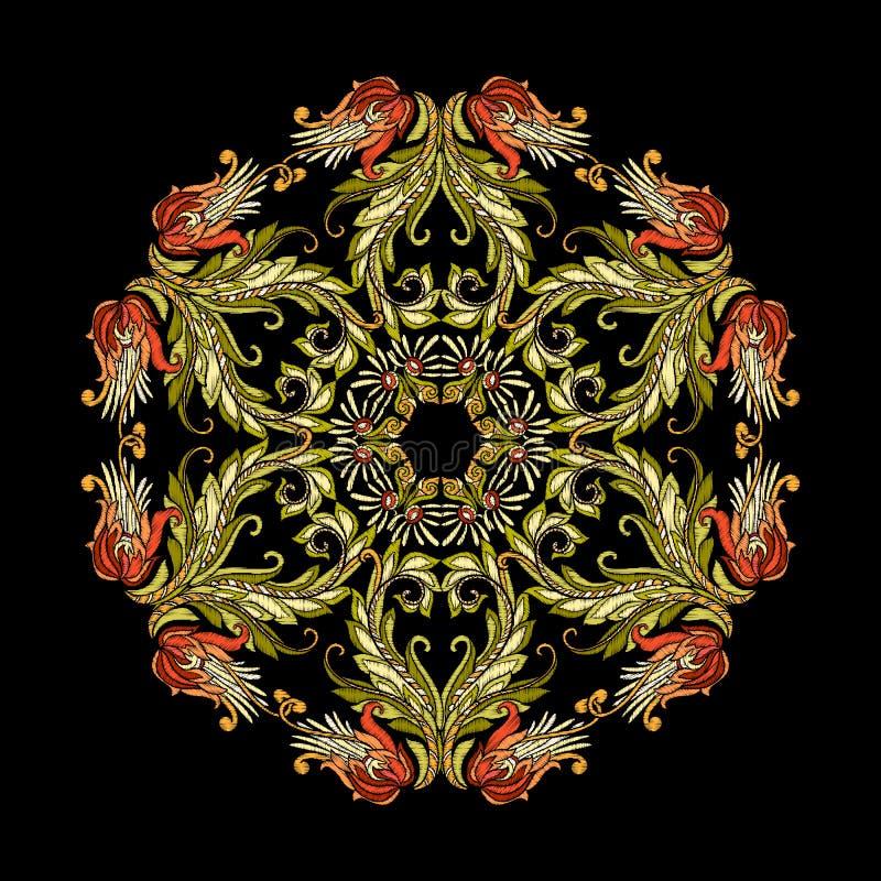 Вышивка Вышитые элементы мандалы дизайна с цветками и иллюстрация штока