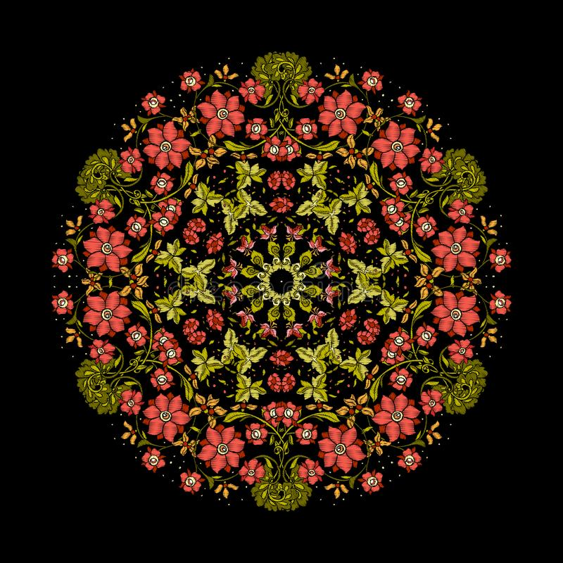 Вышивка Вышитые элементы мандалы дизайна с цветками и бесплатная иллюстрация