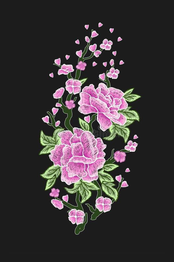Вышивка Вышитые элементы дизайна при изолированные цветки и листья Сакуры Розовые цветки бесплатная иллюстрация