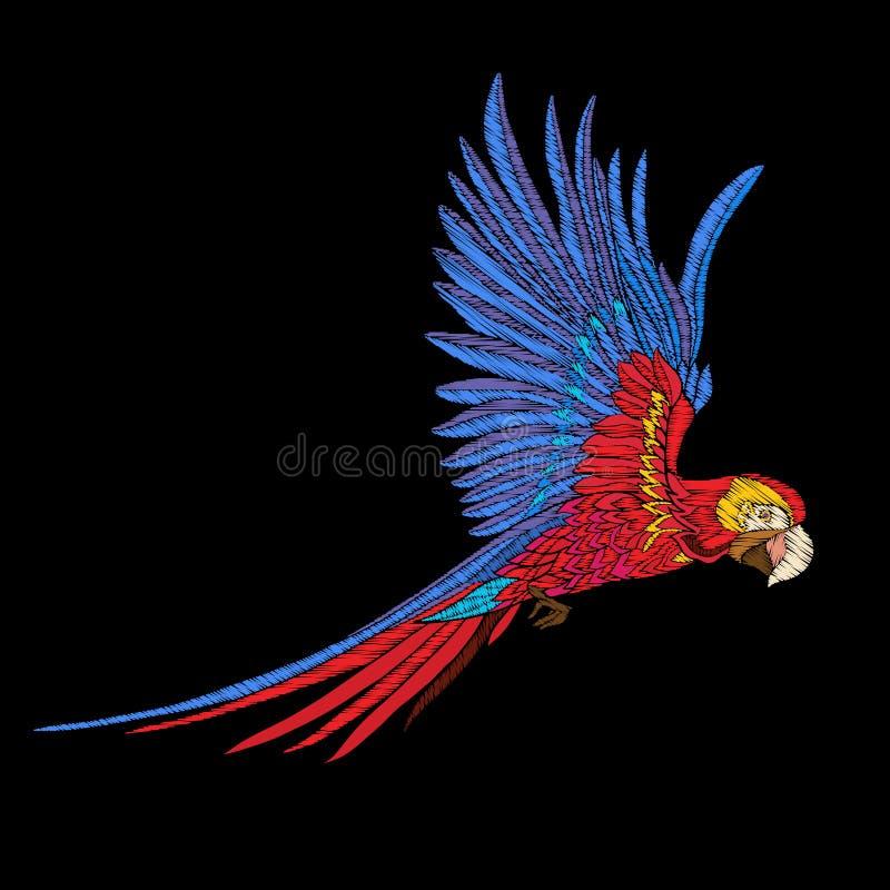 Вышивка Вышитый элемент дизайна - птица - в винтажном стиле бесплатная иллюстрация