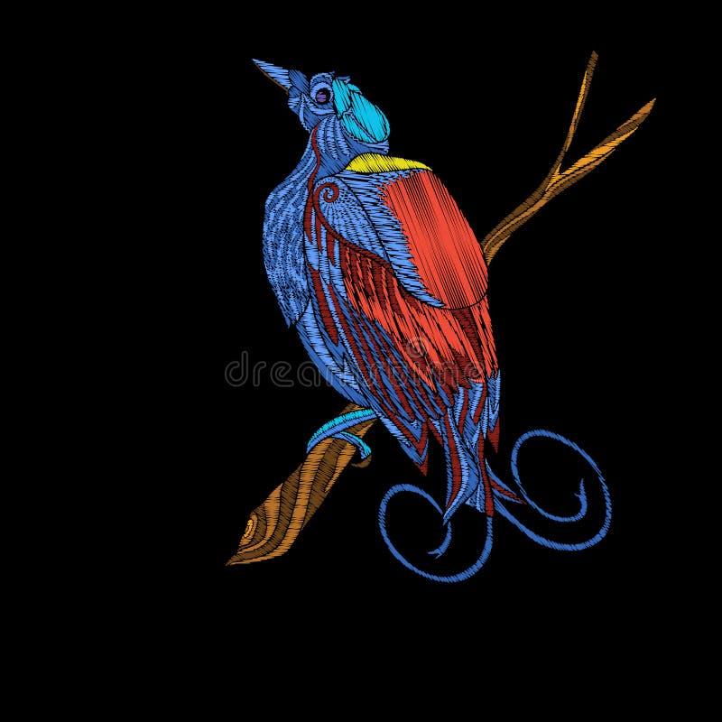 Вышивка Вышитый элемент дизайна - птица - в винтажном стиле иллюстрация штока