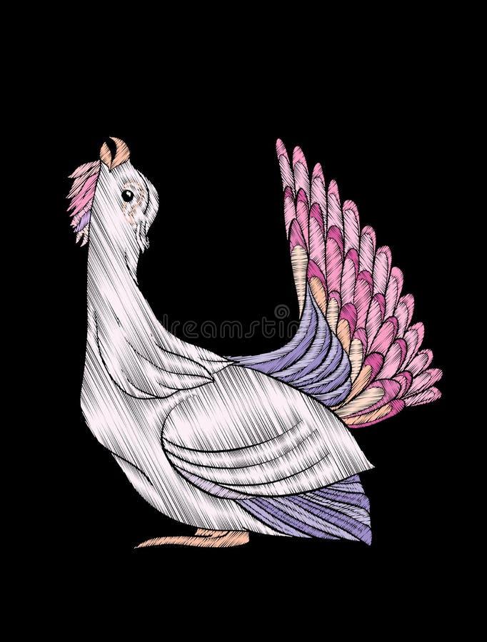 Вышивка Вышитый элемент дизайна - птица - в винтажном стиле иллюстрация вектора