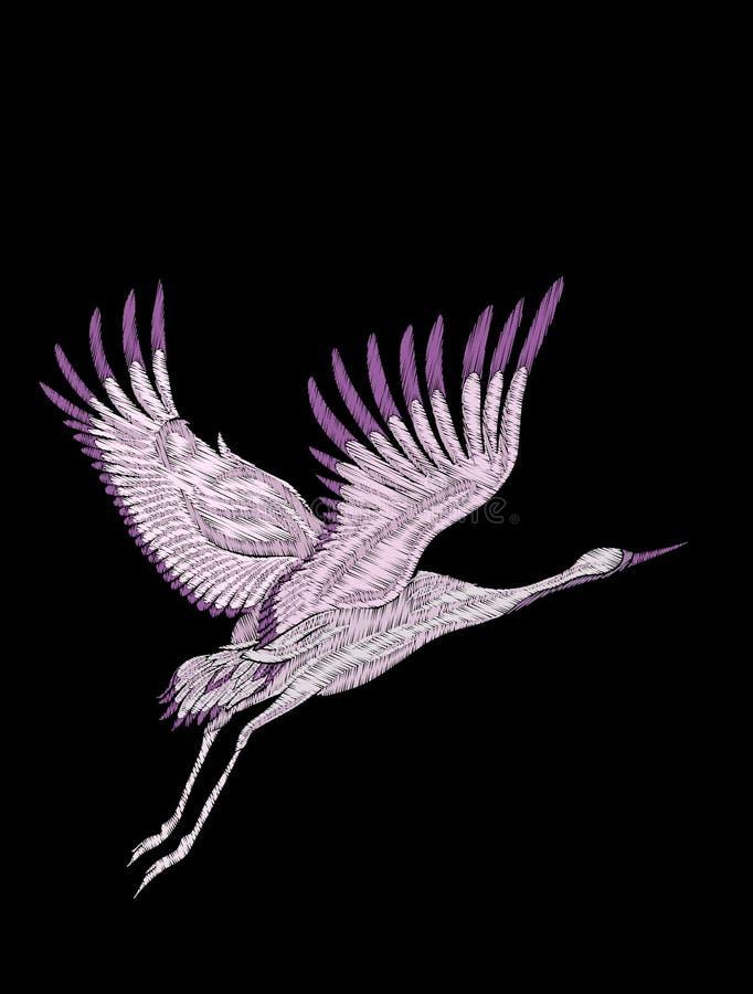 Вышивка Вышитый элемент дизайна - птица - кран - в vinta бесплатная иллюстрация