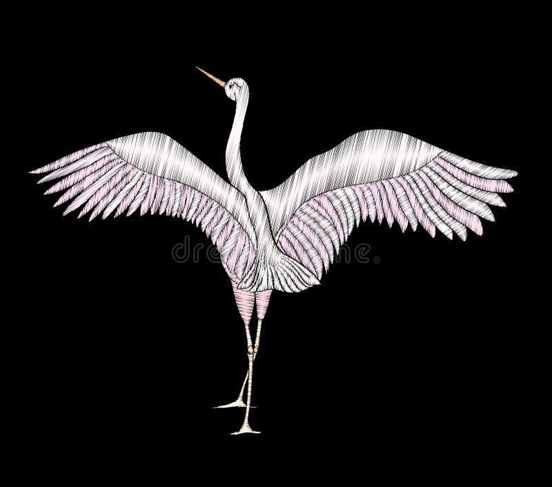 Вышивка Вышитый элемент дизайна - птица - кран - в vinta иллюстрация штока