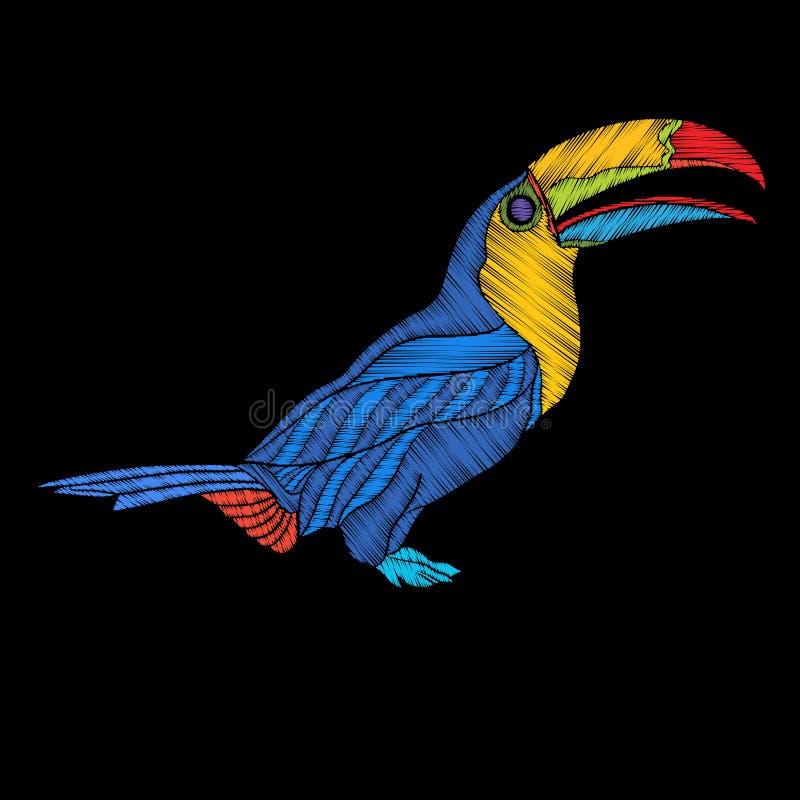 Вышивка Вышитый элемент дизайна - птица - toucan - в vinta бесплатная иллюстрация