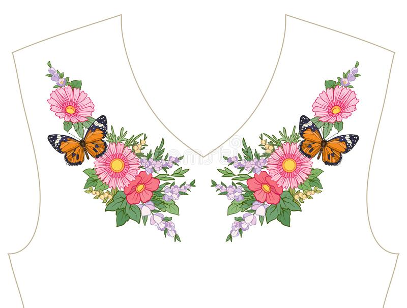 Вышивка для neckline, воротника для футболки, блузки, рубашки Patt иллюстрация штока