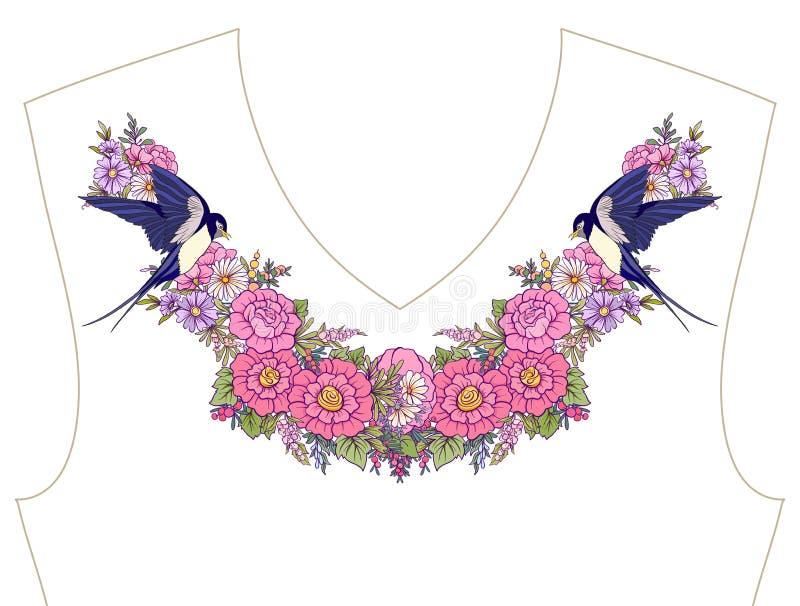 Вышивка для neckline, воротника для футболки, блузки, рубашки Patt иллюстрация вектора