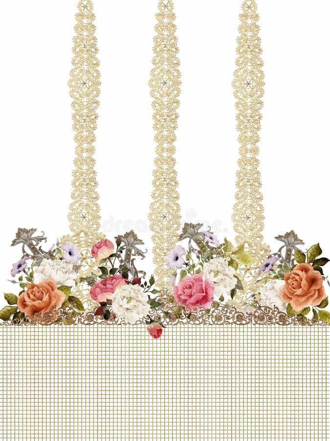 Вышивка золота цветов цветков романтичная барочная стоковое изображение rf