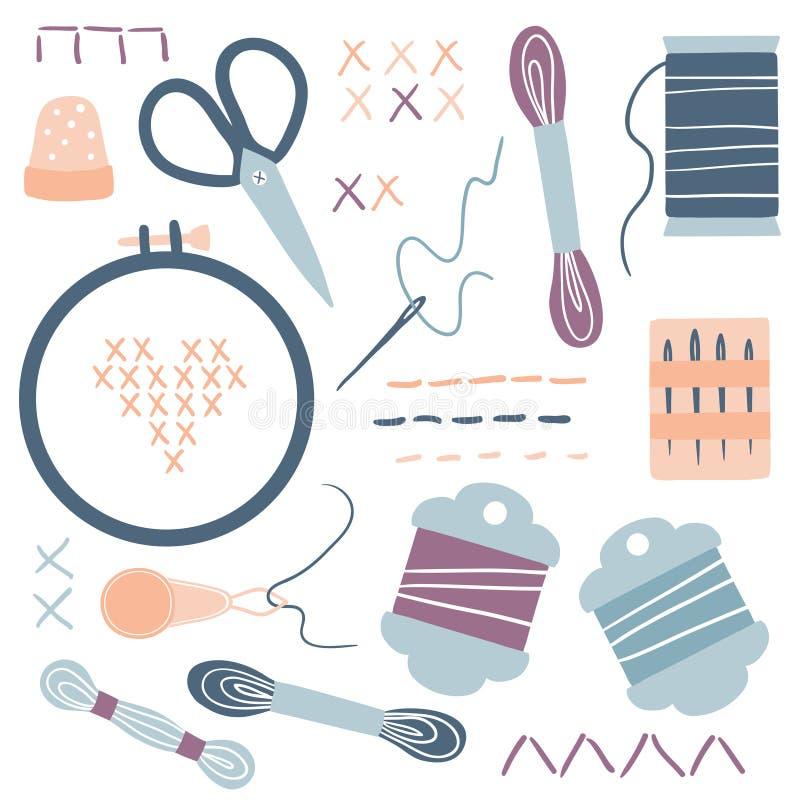 Вышивка и перекрестный набор значков набора стежком бесплатная иллюстрация