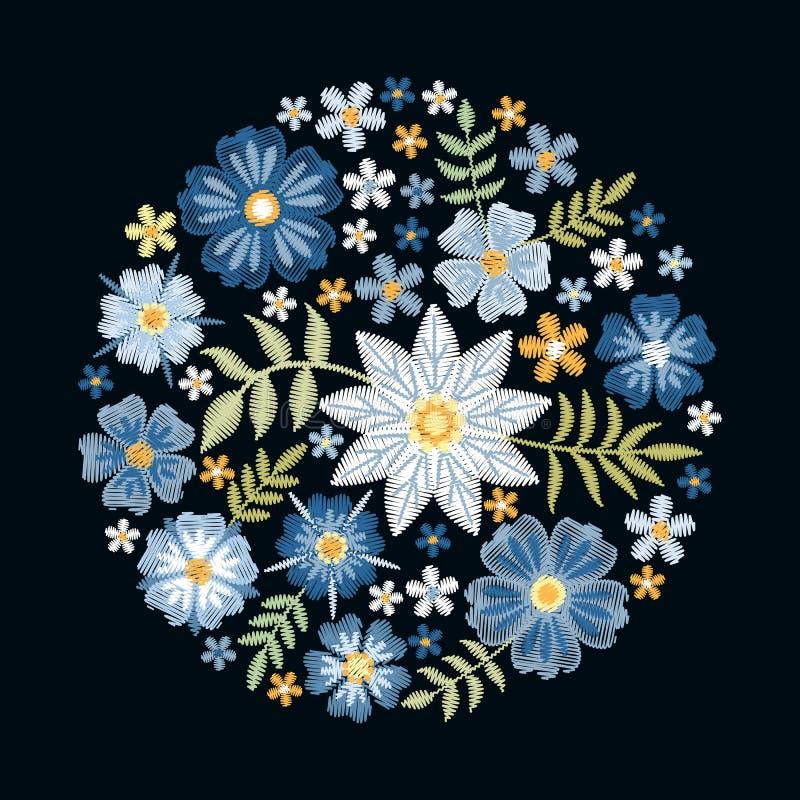 Вышивка Круглая картина с красивыми голубыми цветками Флористический состав круга на черной предпосылке Печать вектора иллюстрация вектора