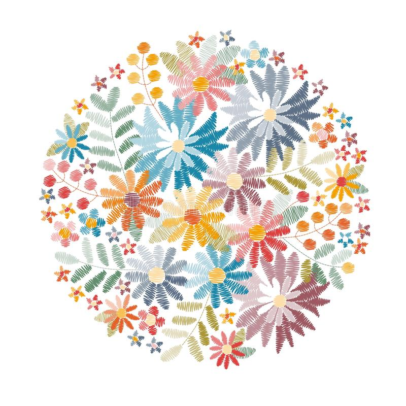 Вышивка Круглая картина с цветками, листьями и ягодами лета иллюстрация штока