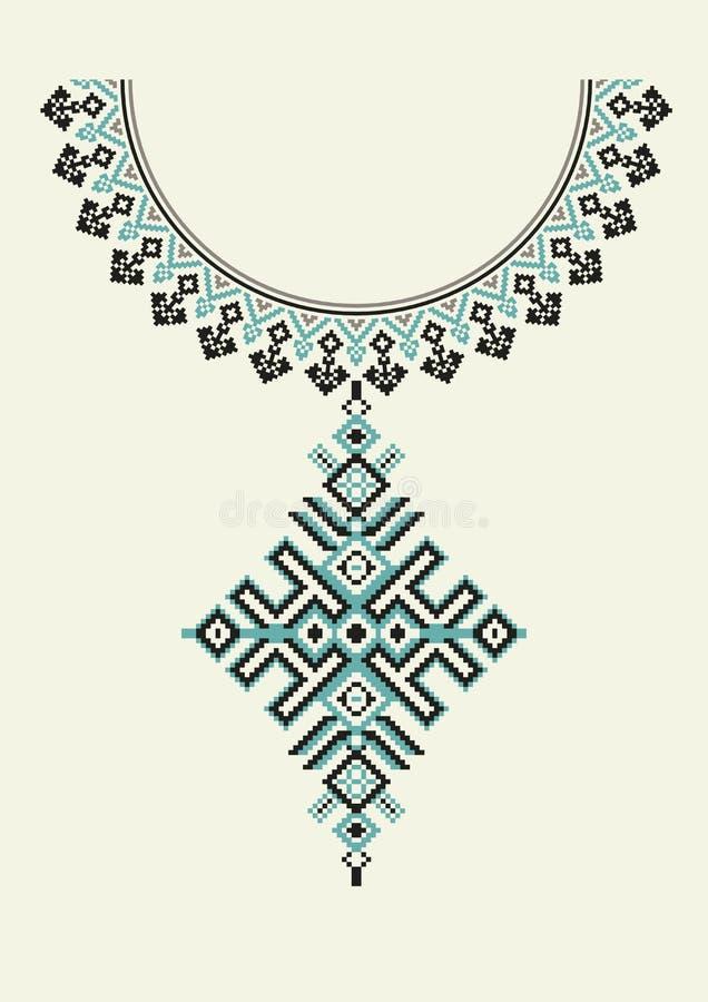 Вышивка ожерелья вектора ацтекская для женщин моды Картина пиксела племенная для печати или веб-дизайна Ювелирные изделия, ожерел иллюстрация вектора