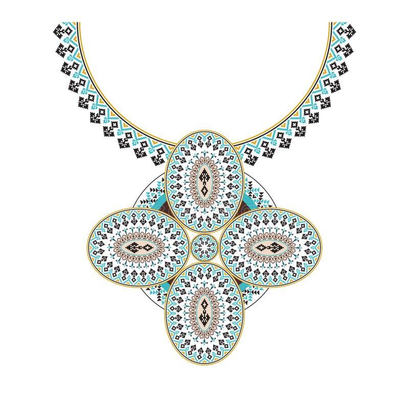 Вышивка ожерелья вектора ацтекская для женщин моды Картина пиксела племенная для печати или веб-дизайна Ювелирные изделия, ожерел иллюстрация штока