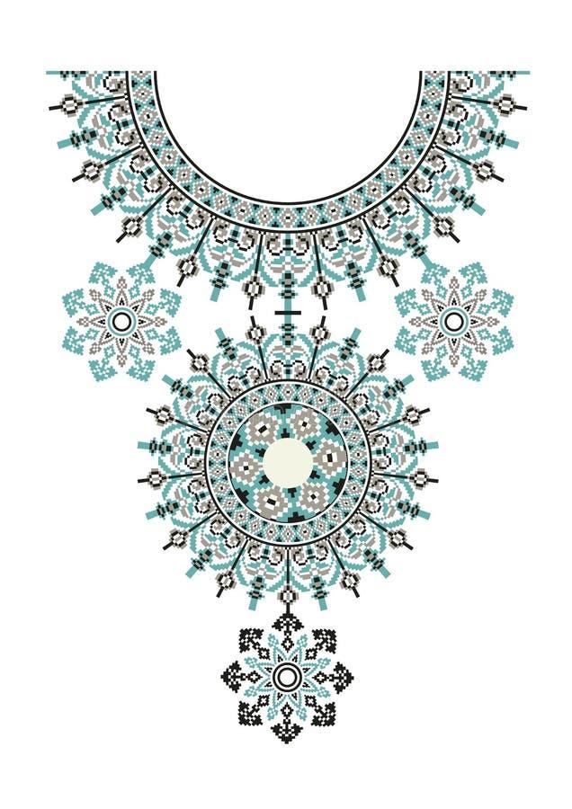 Вышивка ожерелья вектора этническая для женщин моды Печать или веб-дизайн картины пиксела племенная ювелирные изделия, ткань бесплатная иллюстрация