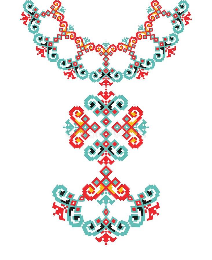 Вышивка ожерелья вектора этническая для женщин моды Печать картины пиксела племенная или веб-дизайн, ювелирные изделия бесплатная иллюстрация