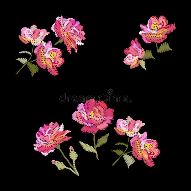 Вышивка подняла цветки Вектор установил флористических букетов изолированных на черной предпосылке иллюстрация штока