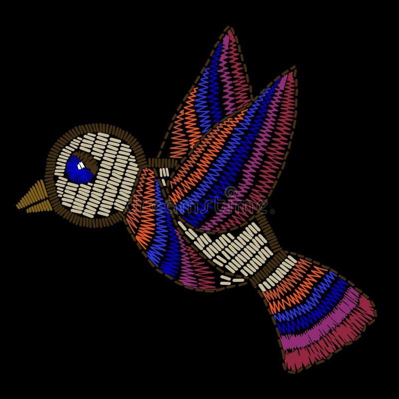 Вышивка птицы шьет имитацию на черной предпосылке иллюстрация штока