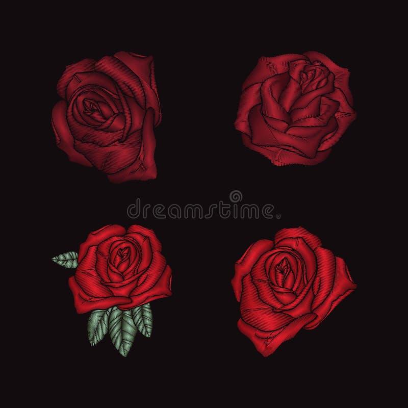 Вышивка роз на черной предпосылке бесплатная иллюстрация