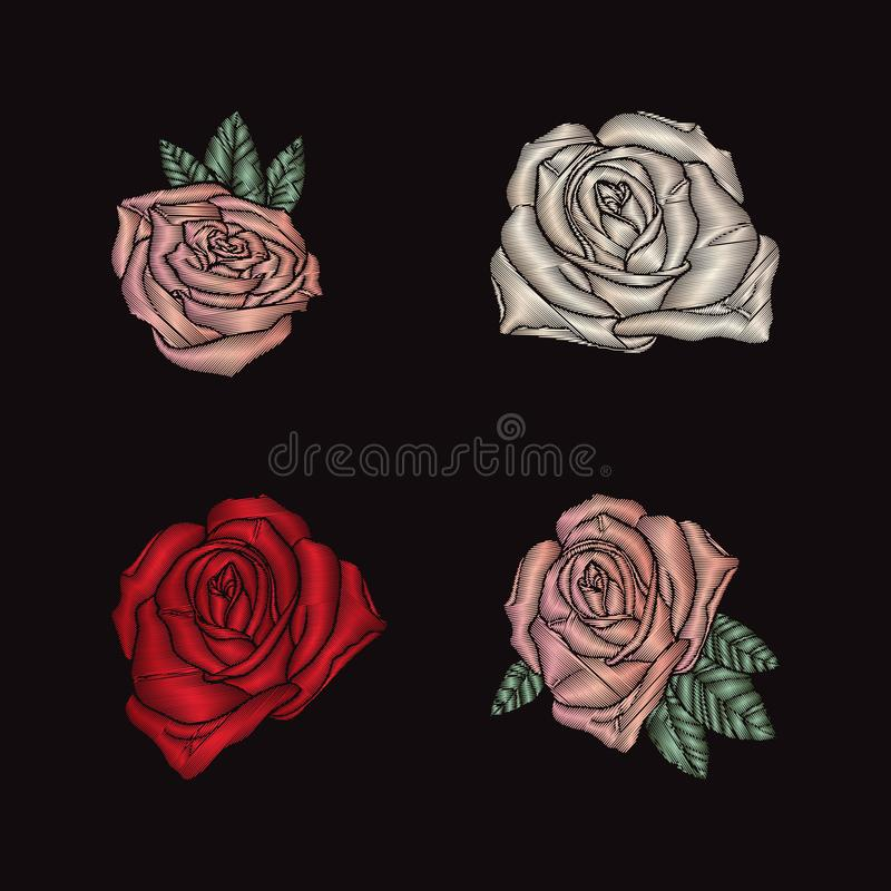 Вышивка роз на черной предпосылке иллюстрация штока