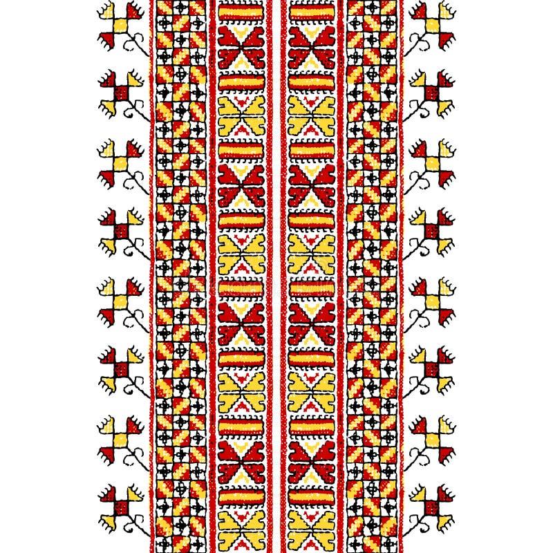 Вышивка руки, картина стилизованного вектора безшовная иллюстрация штока