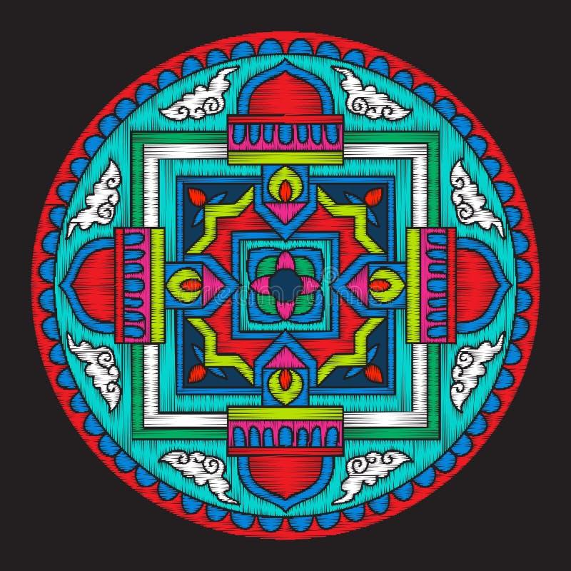 Вышивка с мандалой Тибета на черной предпосылке иллюстрация вектора