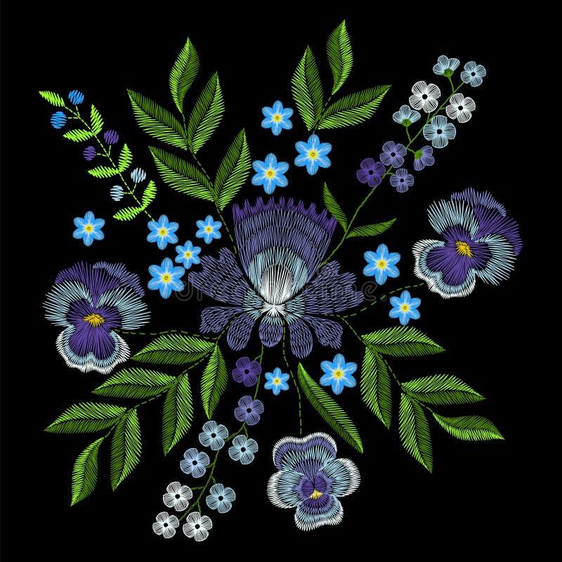 Вышивка с фиолетами, забывает меня не цветки Мода o вектора бесплатная иллюстрация