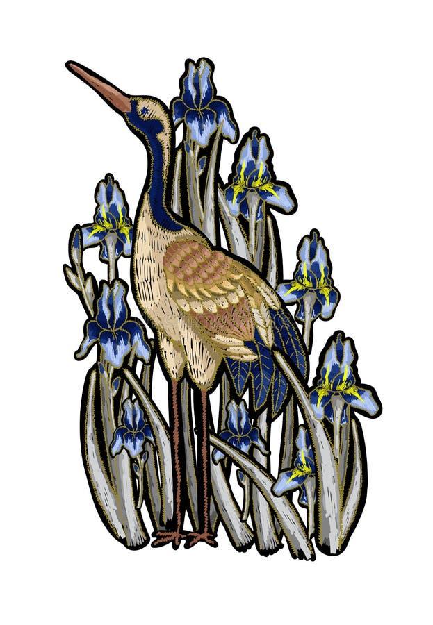 вышивка Цапля-крана с цветками радужки Вышитая мода вектора иллюстрация штока