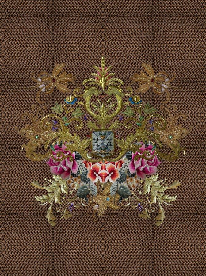 Вышивка цветет барочная текстура Пейсли золота стоковое фото