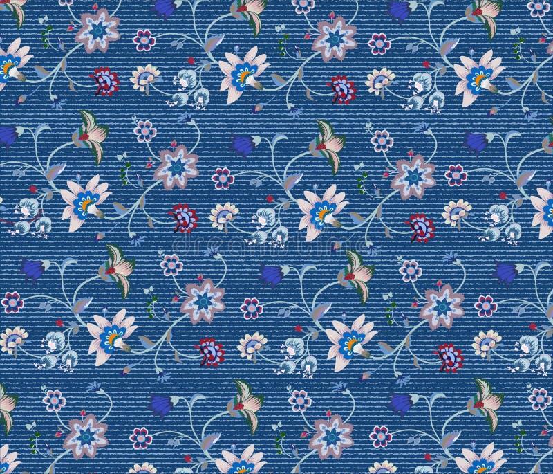 Вышивка цветка на ткани джинсовой ткани иллюстрация вектора