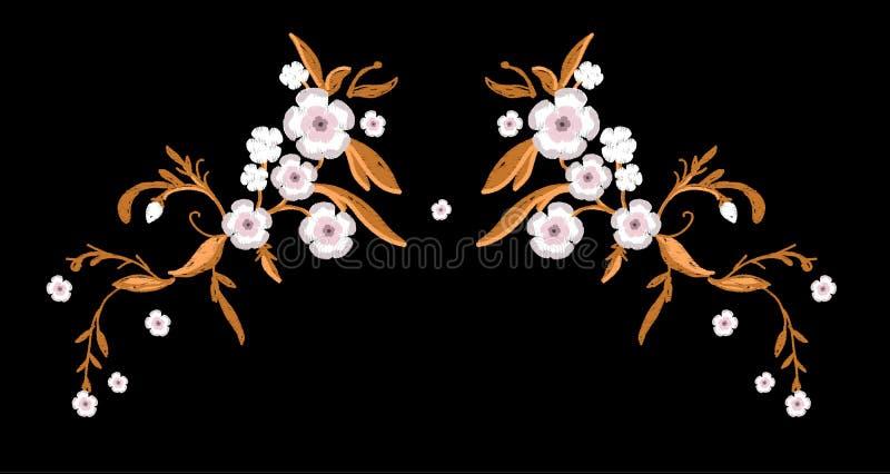 Вышивка цветков Сакуры с листьями бесплатная иллюстрация