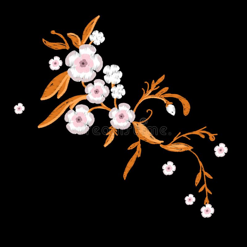 Вышивка цветков Сакуры с листьями иллюстрация штока