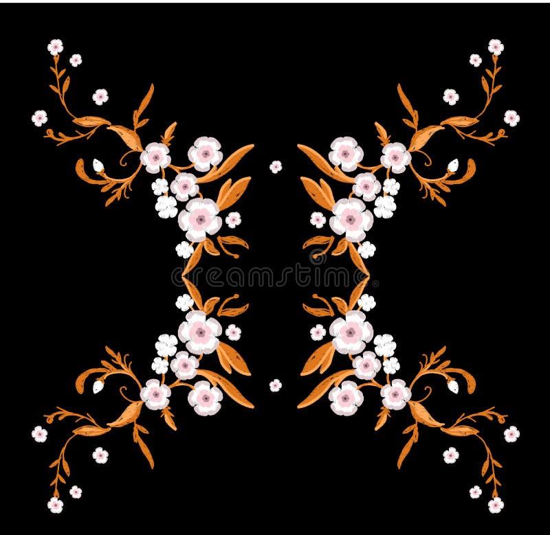 Вышивка цветков Сакуры с листьями иллюстрация вектора