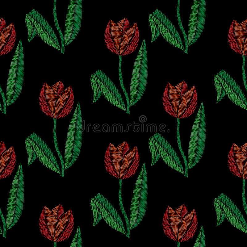 Вышивка шьет имитационную безшовную картину с маленьким тюльпаном иллюстрация штока