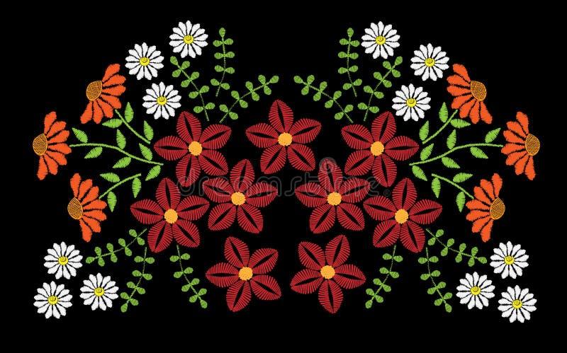 Вышивка шьет имитационную картину моды с фольклорное красочным бесплатная иллюстрация