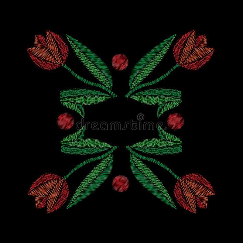 Вышивка шьет имитационный орнамент с тюльпаном бесплатная иллюстрация