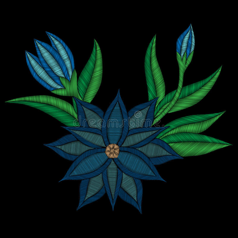 Вышивка шьет имитационный фольклорный голубой цветок с зелеными лист иллюстрация штока