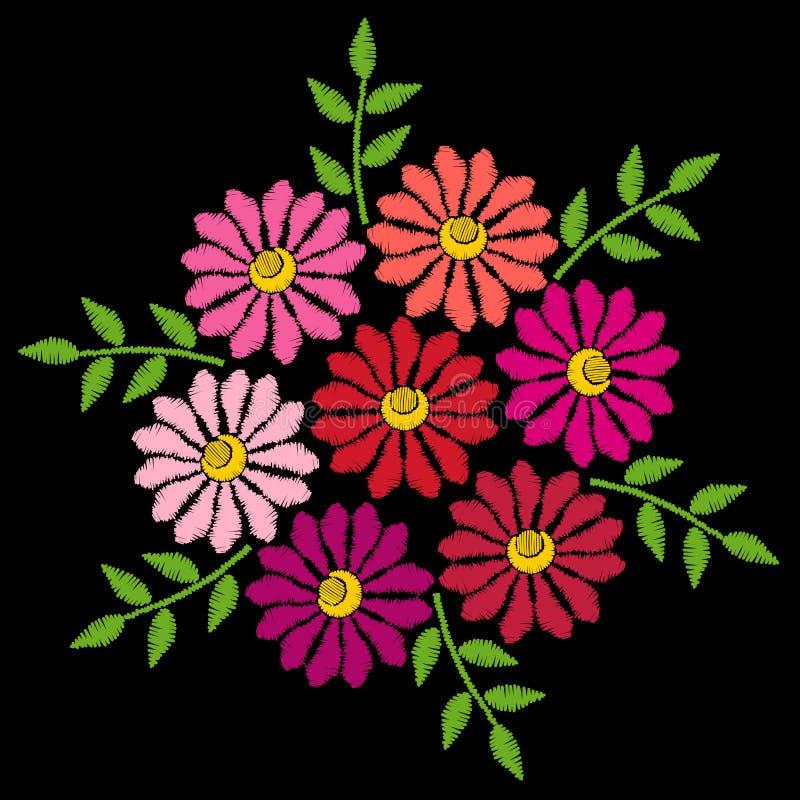 Вышивка шьет имитационный этнический цветочный узор с завтрак-обедом бесплатная иллюстрация