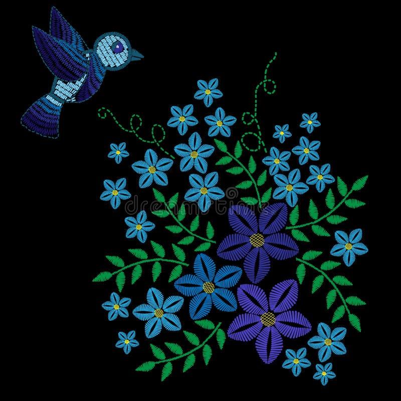 Вышивка шьет имитацию с голубыми птицей и цветком с gre бесплатная иллюстрация