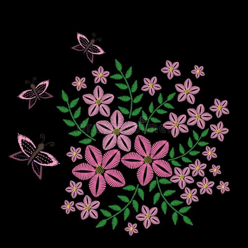 Вышивка шьет имитацию с розовым острословием бабочки и цветка иллюстрация вектора