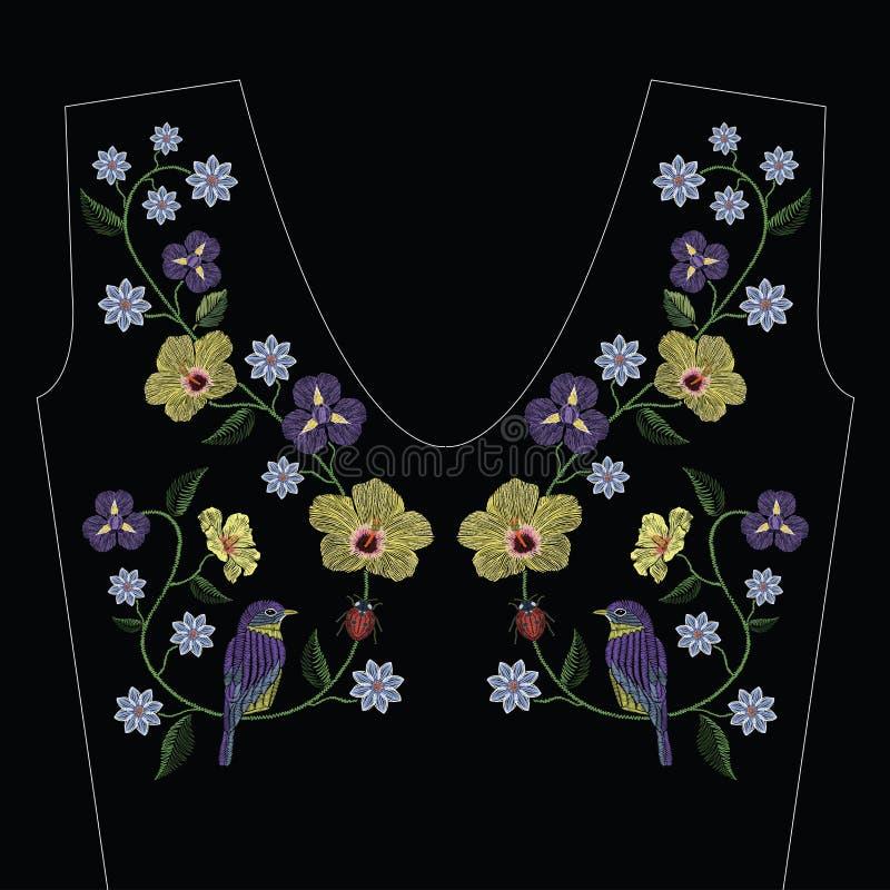 Вышивка шьет с гибискусом, цветком радужки, птицей бесплатная иллюстрация