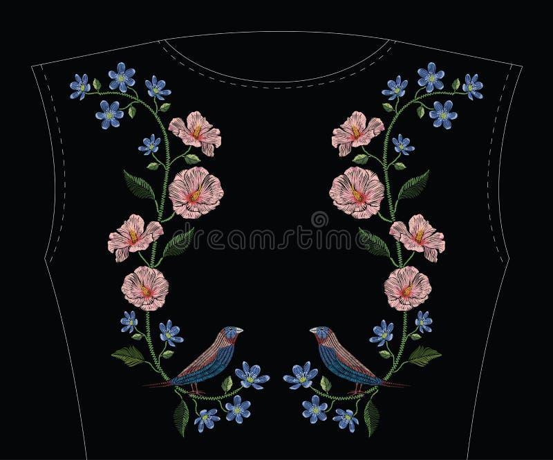 Вышивка шьет с гибискусом, цветком hepatica и gouldian иллюстрация вектора